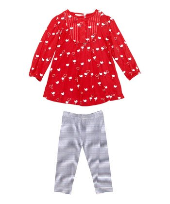 Red Chickie Top & Blue Stripe Leggings - Infant
