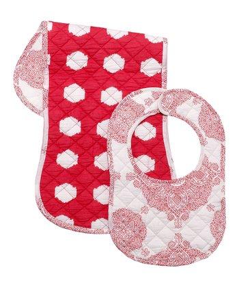 Masala Baby Red & White Ikat Bib & Burp Cloth