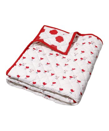 Masala Baby Red & White Ikat Chickies Quilt