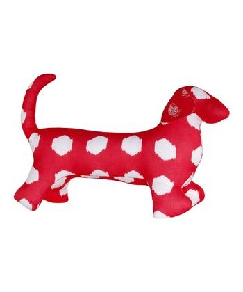 Masala Baby Red & White Ikat Dog Plush Toy