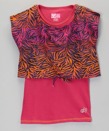 Pink Zebra Layered Top - Girls