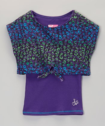 Purple Leopard Layered Top - Girls