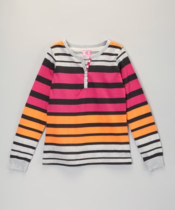 Orange & Pink Stripe Henley - Girls