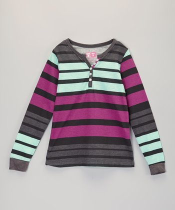 Turquoise & Purple Stripe Henley - Girls