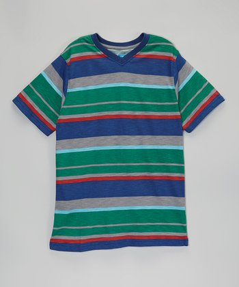 Green & Blue Stripe V-Neck Tee - Boys