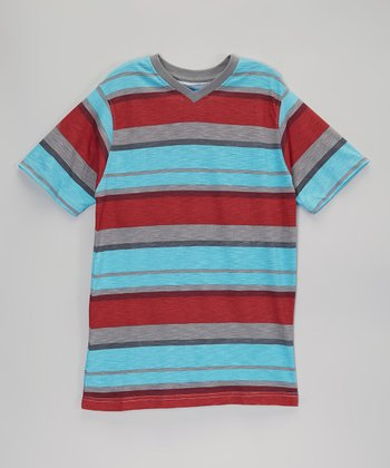 Red & Blue Stripe V-Neck Tee - Boys