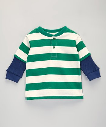 Green Stripe Layered Henley - Infant