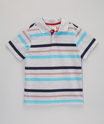 Gray & Blue Stripe Polo - Boys