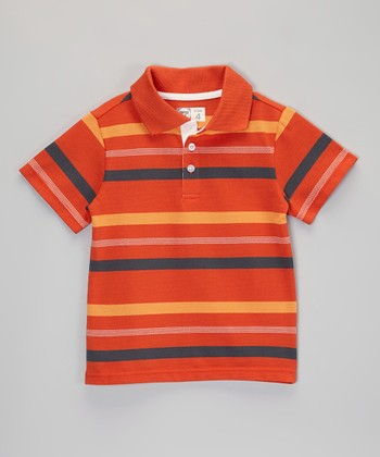 Orange & Yellow Stripe Polo - Boys