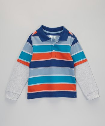 Orange & Teal Stripe Layered Polo - Infant, Toddler & Boys