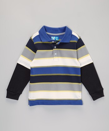 Blue Stripe Layered Polo - Infant, Toddler & Boys