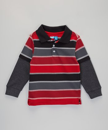 Red Stripe Layered Polo - Infant, Toddler & Boys