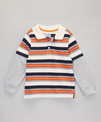 Orange & White Stripe Layered Polo - Infant, Toddler & Boys