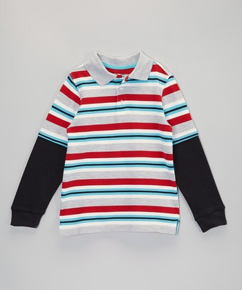 Red & Gray Stripe Layered Polo - Infant, Toddler & Boys