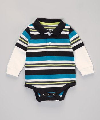 Blue & White Stripe Layered Polo Bodysuit - Infant