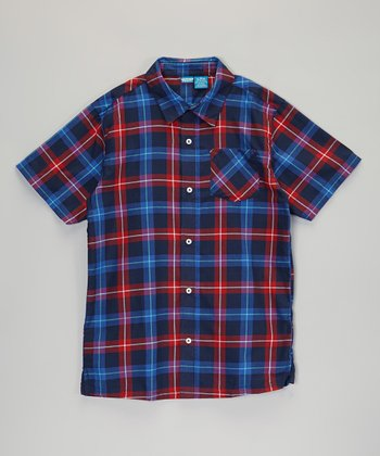 Blue & Red Plaid Short-Sleeve Button-Up - Infant, Toddler & Boys