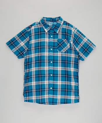 Teal Plaid Short-Sleeve Button-Up - Infant, Toddler & Boys