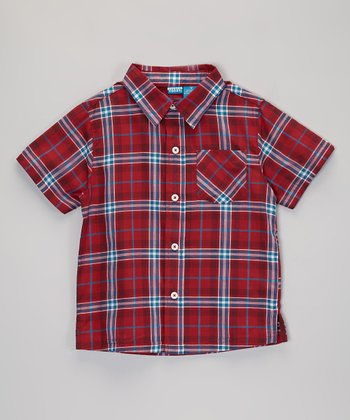 Red & White Plaid Short-Sleeve Button-Up - Infant, Toddler & Boys