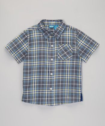 Blue & Green Plaid Short-Sleeve Button-Up - Infant, Toddler & Boy