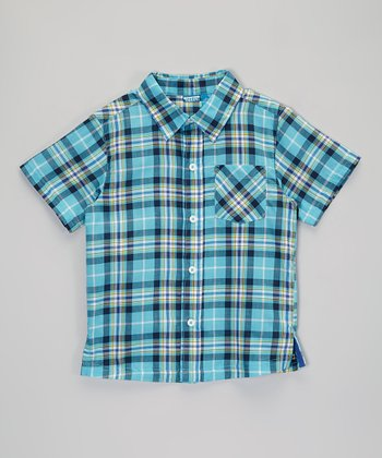 Teal & Purple Plaid Button-Up - Infant, Toddler & Boys