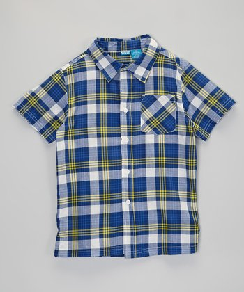 Dark Blue & Yellow Plaid Button-Up - Infant, Toddler & Boys