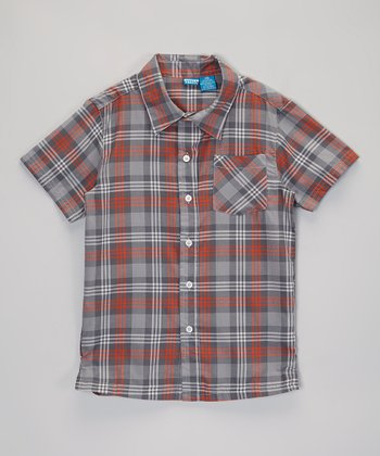 Gray Plaid Short-Sleeve Button-Up - Infant, Toddler & Boys