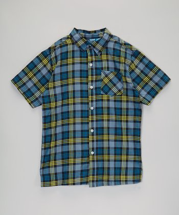 Green & Dark Blue Plaid Button-Up - Infant, Toddler & Boys