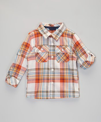 Orange Plaid Button-Up - Infant & Toddler