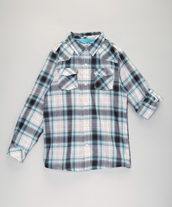 Light Blue Plaid Button-Up - Infant, Toddler & Boys