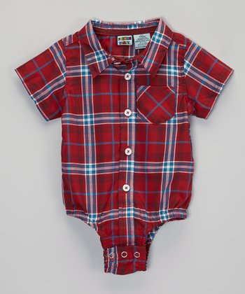 Red Plaid Short-Sleeve Button-Up Bodysuit - Infant