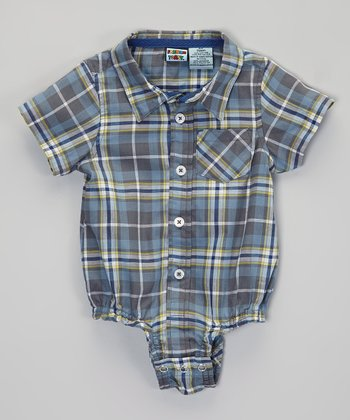 Blue & Green Short-Sleeve Button-Up Bodysuit - Infant