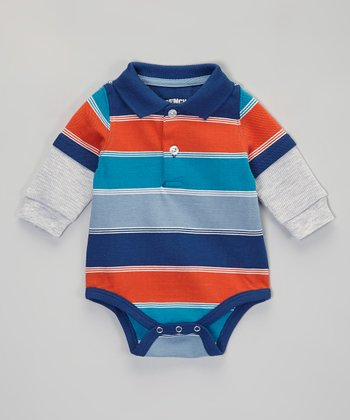 Teal & Orange Stripe Layered Polo Bodysuit - Infant