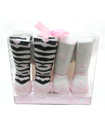 Pink & White Heart Tights Set