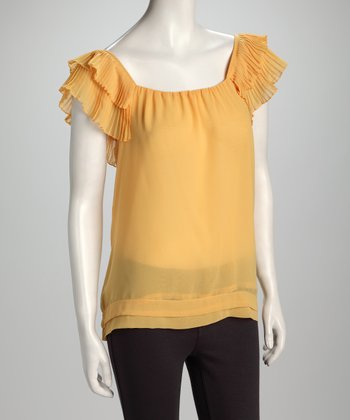 Yellow Ruffle-Sleeve Top