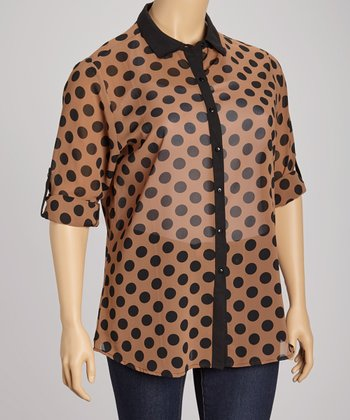 Brown & Black Dot Button-Up - Plus
