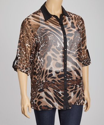 Black & Brown Jungle Button-Up - Plus