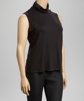 Black Mock Neck Top - Plus