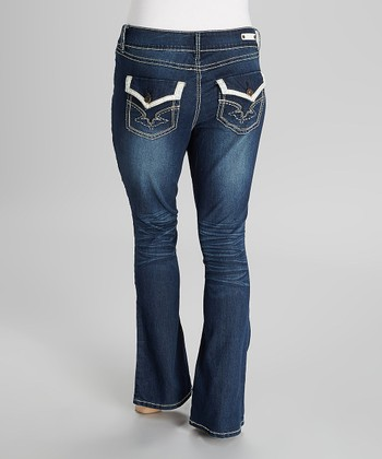 Deep Blue Tummy Tuck Mid-Rise Bootcut Jeans - Plus