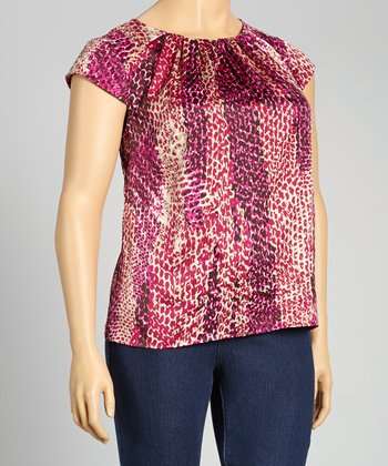 Pink Abstract Cap-Sleeve Top - Plus