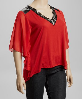Red Hematite Cape-Sleeve Top - Plus