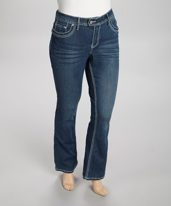 Medium Blue Fleur-de-Lis Mid-Rise Slim Bootcut Jeans - Plus