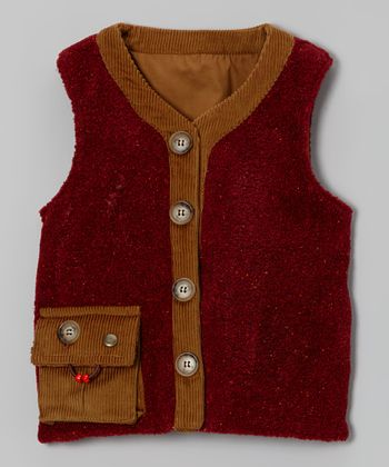 Salsa Red Berber Fleece Weightable Vest - Kids