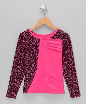 Fuchsia Damask Pleated Top