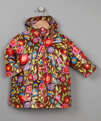 Brown Flower Raincoat - Infant, Toddler & Kids