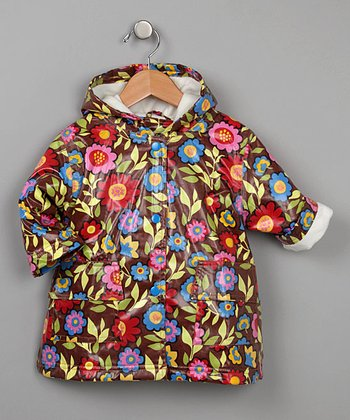 Brown Flower Fleece-Lined Raincoat - Infant, Toddler & Kids