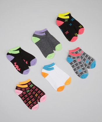 XOXO Black & Neon Skull Socks Set - Girls