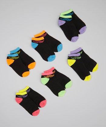 XOXO Black & Neon Animal Mustache Socks Set - Girls