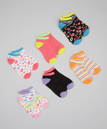 White & Orange Heart Stripe Socks Set - Girls