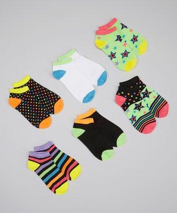 XOXO Black & Neon Star Stripe Socks Set - Girls