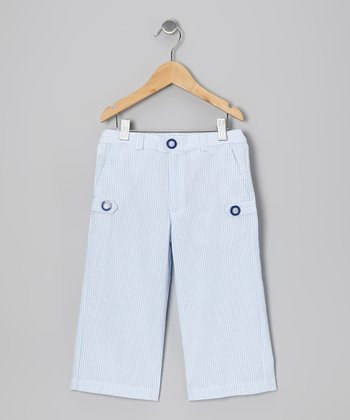 Light Blue Stripe Seersucker Pants - Infant